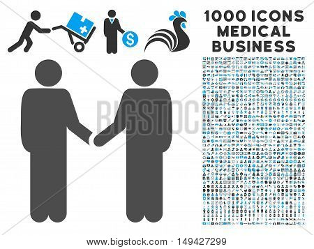 Persons Handshake icon with 1000 medical commerce gray and blue vector pictographs. Clipart style is flat bicolor symbols, white background.