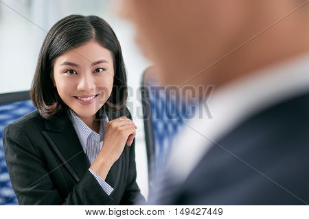 Portrait of smiling Vietnamese female business executive