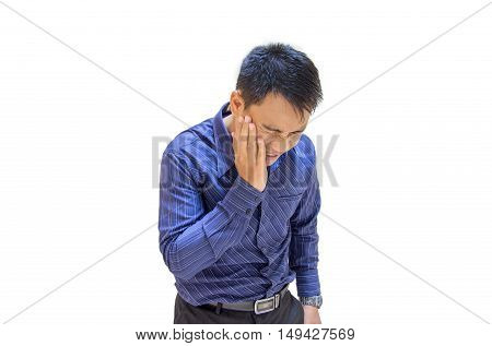 a young man illness sudden toothache isolated
