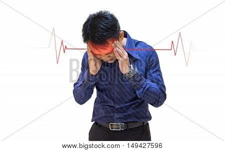 a young man illness sudden headache isolated