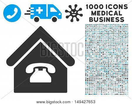 Phone Station icon with 1000 medical business gray and blue vector design elements. Clipart style is flat bicolor symbols, white background.