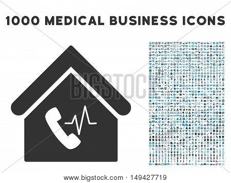 Phone Station Building icon with 1000 medical business gray and blue vector design elements. Collection style is flat bicolor symbols, white background.