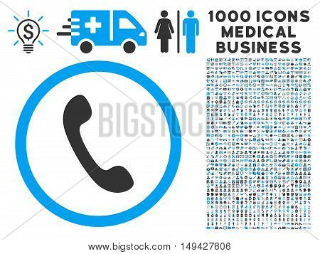 Phone icon with 1000 medical commerce gray and blue vector design elements. Set style is flat bicolor symbols, white background.
