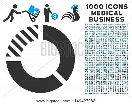 Pie Chart icon with 1000 medical commercial gray and blue vector pictograms. Clipart style is flat bicolor symbols, white background.