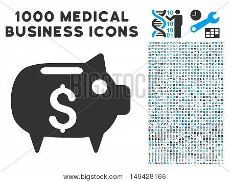 Piggy Bank icon with 1000 medical commerce gray and blue vector design elements. Clipart style is flat bicolor symbols, white background.