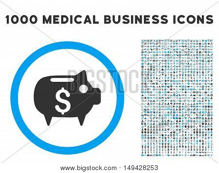 Piggy Bank icon with 1000 medical commerce gray and blue vector pictograms. Set style is flat bicolor symbols, white background.