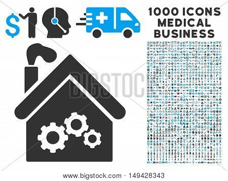 Plant Building icon with 1000 medical commerce gray and blue vector pictographs. Collection style is flat bicolor symbols, white background.