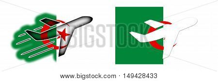 Nation Flag - Airplane Isolated - Algeria
