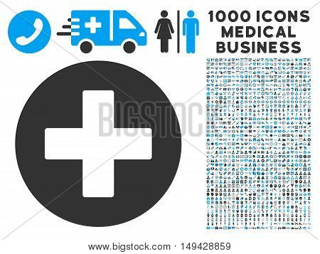 Plus icon with 1000 medical business gray and blue vector pictograms. Collection style is flat bicolor symbols, white background.