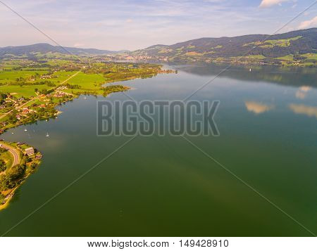 Aerial View, Panorama From Mondsee, Austria Europe