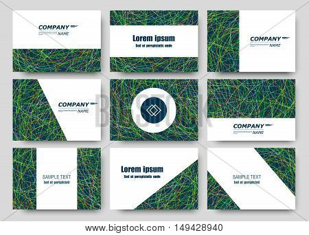 Abstract composition, business card set, correspondence letter collection, brochure title sheet, certificate, diploma, patent, charter, figure frame surface, grass backdrop EPS10 vector