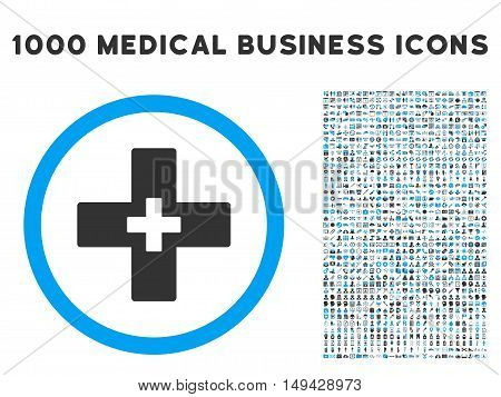 Plus icon with 1000 medical business gray and blue vector pictographs. Set style is flat bicolor symbols, white background.