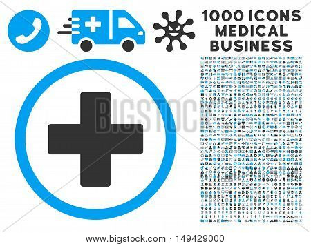 Plus icon with 1000 medical commerce gray and blue vector design elements. Design style is flat bicolor symbols, white background.