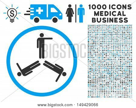 Pointing Men icon with 1000 medical commerce gray and blue vector design elements. Collection style is flat bicolor symbols, white background.