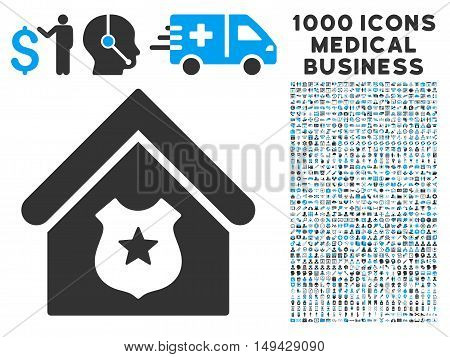 Police Office icon with 1000 medical commerce gray and blue vector design elements. Design style is flat bicolor symbols, white background.