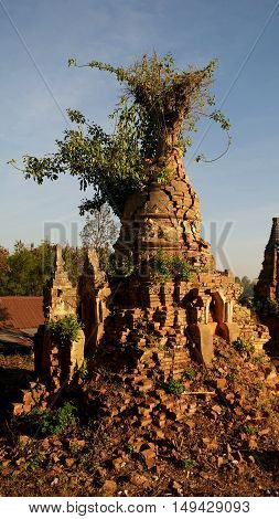Ruined buddhist stupa in Inn Dein Myanmar