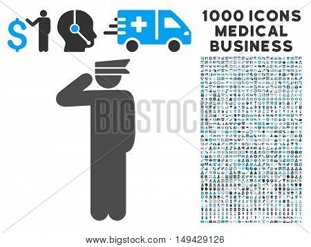 Police Officer icon with 1000 medical commerce gray and blue vector pictograms. Collection style is flat bicolor symbols, white background.