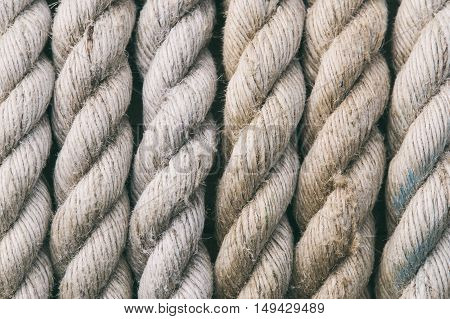 and ropes on a wooden background, fabric components