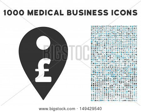 Pound Map Marker icon with 1000 medical business gray and blue vector pictograms. Set style is flat bicolor symbols, white background.