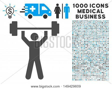 Power Lifting icon with 1000 medical commerce gray and blue vector pictograms. Set style is flat bicolor symbols, white background.