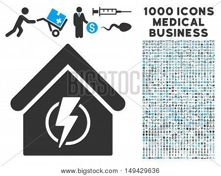 Power Supply Building icon with 1000 medical commerce gray and blue vector design elements. Clipart style is flat bicolor symbols, white background.