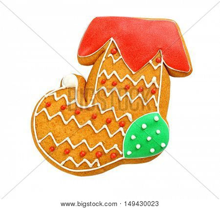 Delicious Christmas cookie on white background