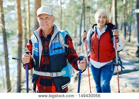 Seniors trekking