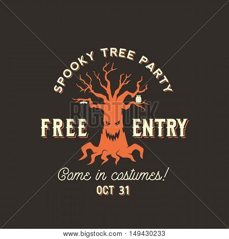 Vector Halloween Spooky Tree Silhouette Label, Symbol or Flyer Template. With Retro Typography. Orange on Brown Background.