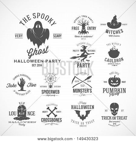 Vintage Halloween Vector Badges or Labels Templates. Witch, Ghost, Skull, Grave, Bats and Other Symbols with Retro Typography. Black. Isolated.