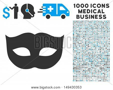 Privacy Mask icon with 1000 medical commerce gray and blue vector pictographs. Design style is flat bicolor symbols, white background.