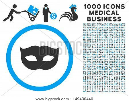 Privacy Mask icon with 1000 medical business gray and blue vector pictographs. Set style is flat bicolor symbols, white background.