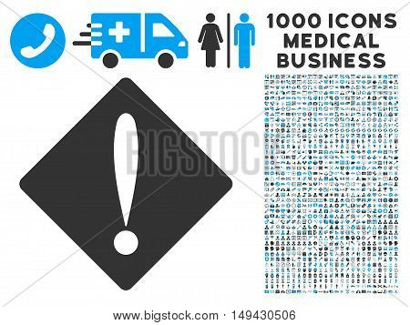 Problem icon with 1000 medical commerce gray and blue vector pictograms. Set style is flat bicolor symbols, white background.