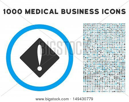Problem icon with 1000 medical business gray and blue vector pictograms. Collection style is flat bicolor symbols, white background.