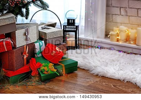 Beautiful gifts under Christmas tree
