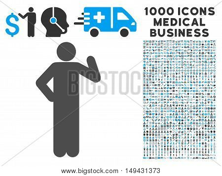 Proposal Pose icon with 1000 medical commerce gray and blue vector pictographs. Design style is flat bicolor symbols, white background.