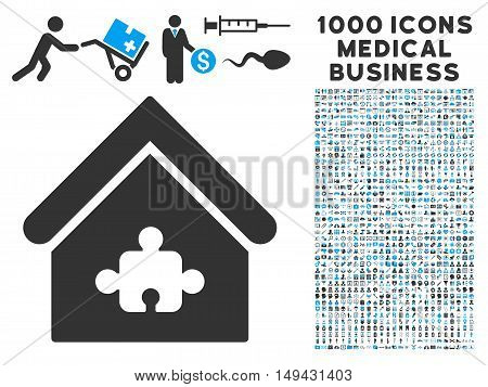Puzzle Building icon with 1000 medical business gray and blue vector pictographs. Design style is flat bicolor symbols, white background.