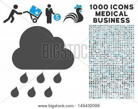 Rain Cloud icon with 1000 medical commercial gray and blue vector pictograms. Clipart style is flat bicolor symbols, white background.