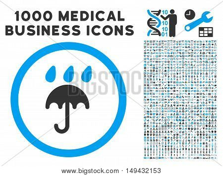 Rain Protection icon with 1000 medical commercial gray and blue vector pictograms. Set style is flat bicolor symbols, white background.