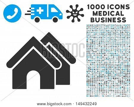 Real Estate icon with 1000 medical commerce gray and blue vector design elements. Set style is flat bicolor symbols, white background.