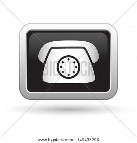 Telephone icon on the button. Vector illustration