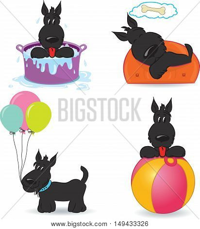 A set of funny dogs. Isolated on white. Vector illustration
