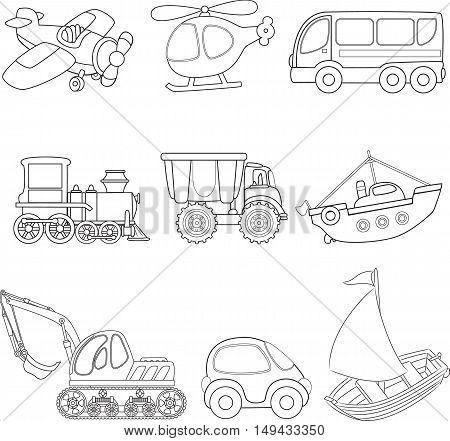 Cartoon transport toy. Coloring book. Vector illustration