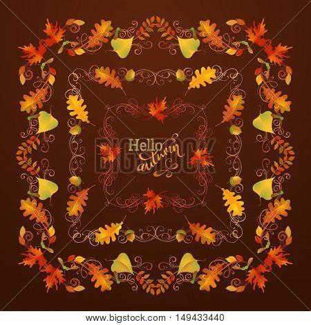 Vector Set Of Autumn Leaves Frames.