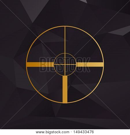 Sight Sign Illustration. Golden Style On Background With Polygons.