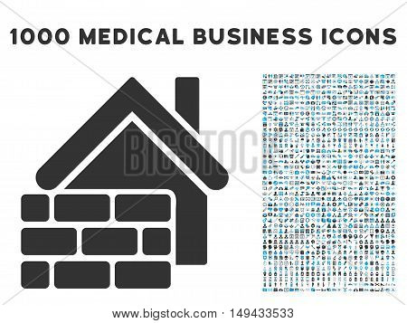 Realty Brick Wall icon with 1000 medical commerce gray and blue vector pictograms. Collection style is flat bicolor symbols, white background.