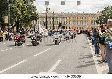 St. Petersburg, Russia - 13 August, Bikers on motorcycles with flags,13 August, 2016. The annual parade of Harley Davidson in the squares and streets of St. Petersburg.