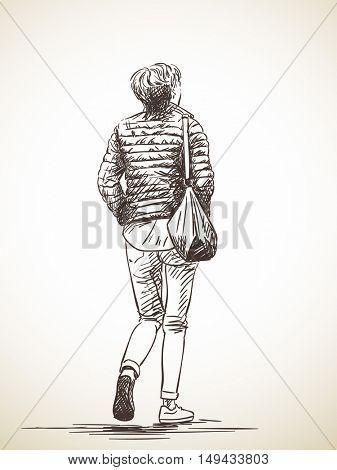 Sketch of walking woman wearing down jacket, Hand drawn illustration