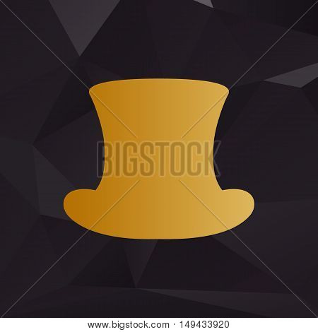 Top Hat Sign. Golden Style On Background With Polygons.