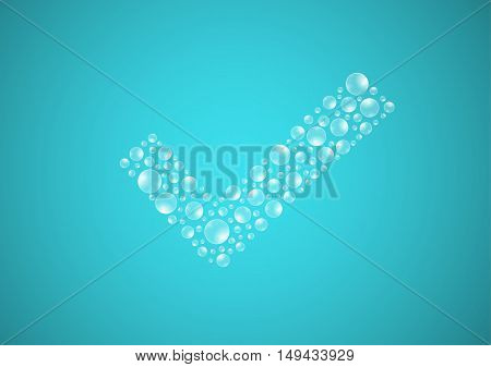 Water Drops On Blue Background, Check Symbol