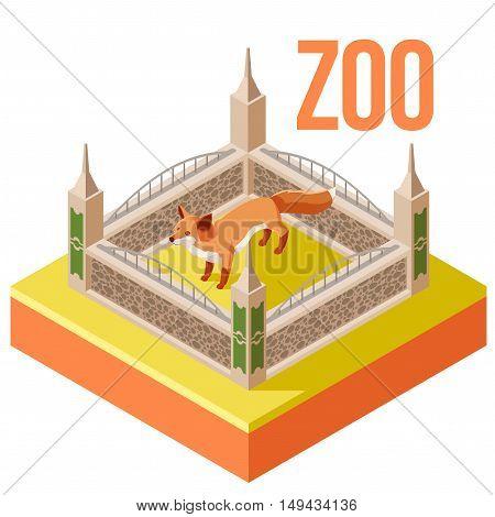 Vector image of the Zoo Fox isometric icon